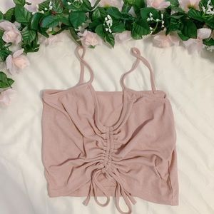 cropped pink mauve scrunched tank top | S
